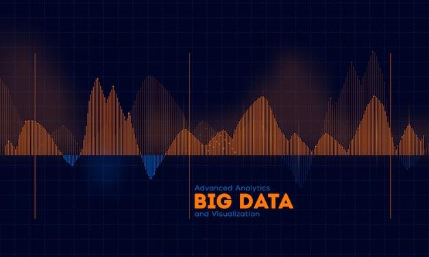 分析ビッグデータと視覚化の概念ベースの設計のためのハイテクデジタル波ネットワーク背景の波状構造。