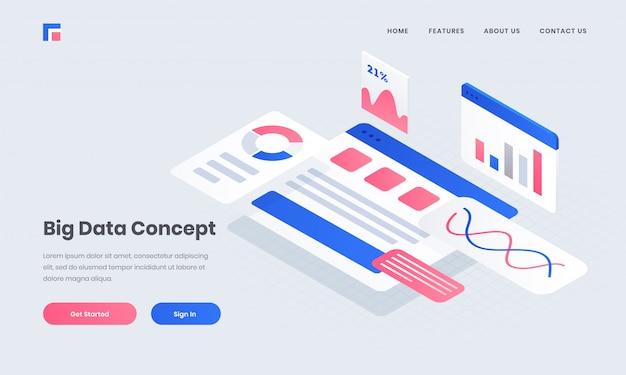 Адаптивный плакат или целевая страница с инфографикой несколько экранов веб-сайта для концепции больших данных изометрического дизайна.