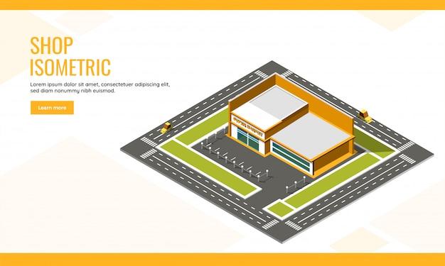 ショップコンセプトベースの等尺性ランディングページデザインのスーパーマーケットの長い車両輸送通り背景の建物の平面図。