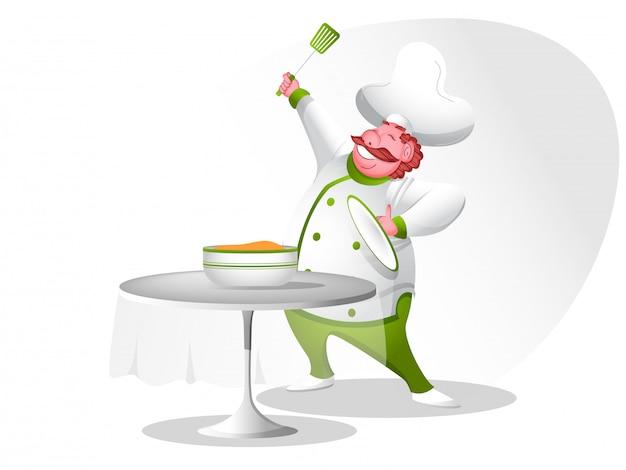 Счастливый характер шеф-повара.