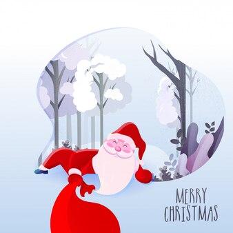 抽象的なフォレストビューに袋を保持しているサンタクロースのイラストとメリークリスマスのお祝いグリーティングカード。