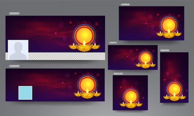 広告バナー、ポスター、ディワリ祭のメッセージ用に照らされたオイルランプ(ディヤ)と空の円形フレーム付きのテンプレート。