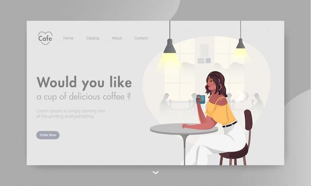Веб-баннер или целевой страницы с современной девушкой, пить кофе в ресторане таблицы.