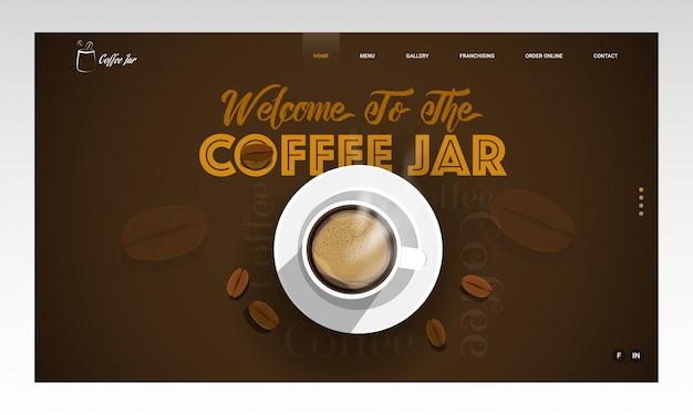 コーヒーカップとコーヒージャーへようこそとして与えられたメッセージと茶色で飾られた豆の平面図。ランディングページ 。