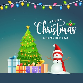 Поздравительная открытка или плакат с декоративной елки, подарочные коробки и снеговик для веселого рождества и счастливого нового года.