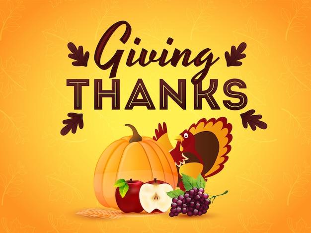 感謝祭のお祝いカードまたは七面鳥鳥、カボチャ、ブドウ、オレンジ色の秋のリンゴのイラストとポスターの葉パターン。