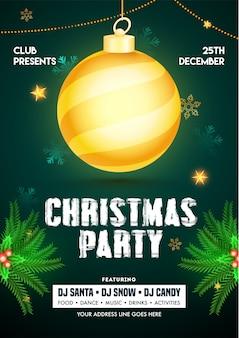 安物の宝石、松の葉、緑のイベントの詳細とクリスマスパーティーの招待状。