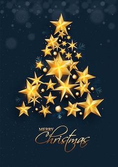 メリークリスマスのお祝いの際に金色の星とつまらないもので作られた創造的なクリスマスツリー。グリーティングカード 。