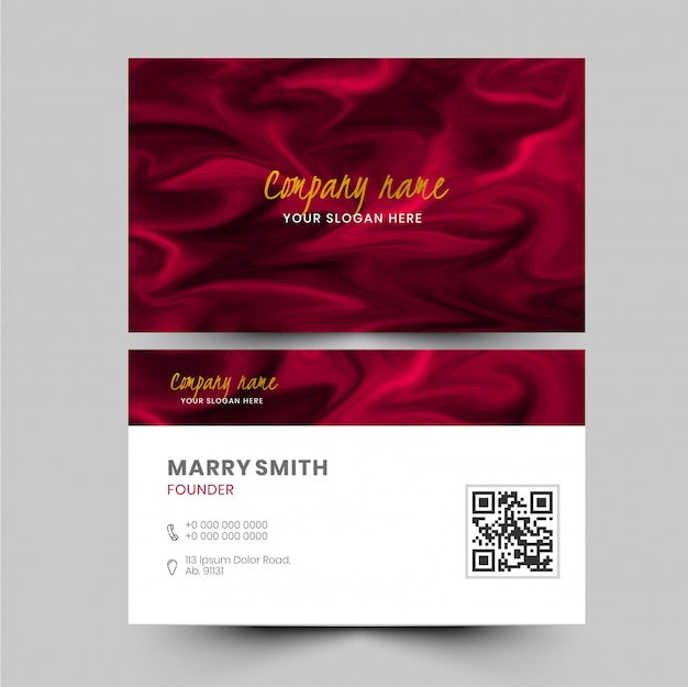 Визитная карточка или визитная карточка с эффектом красного мрамора