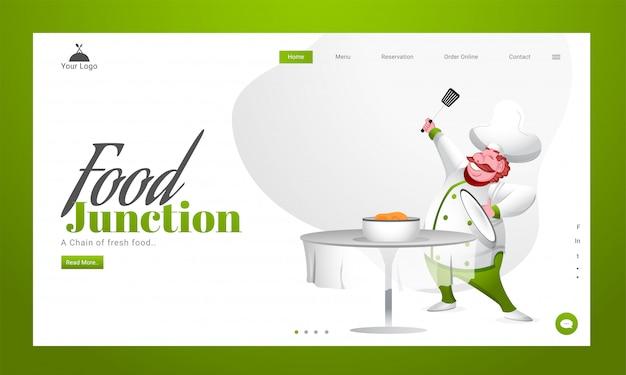 フードジャンクションのテーブルに料理を提示する幸せなシェフのキャラクターのリンク先ページ。