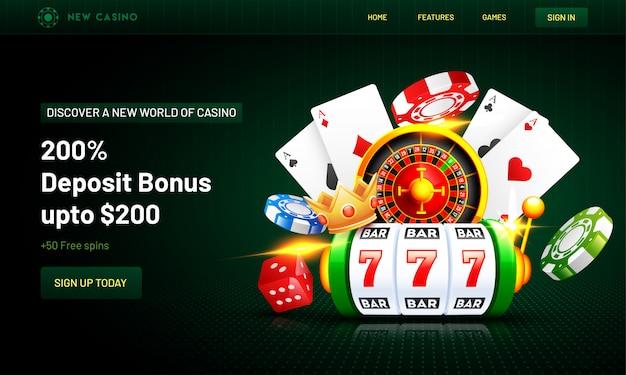 カジノの背景のランディングページ