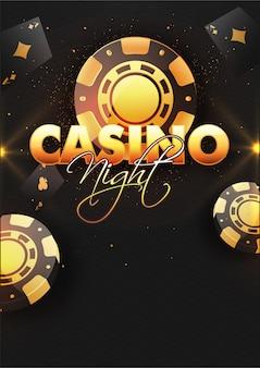 ポーカーチップとカジノの夜背景。