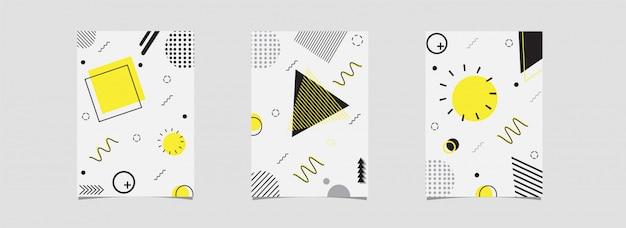 Набор шаблонов или флаер с абстрактным геометрическим элементом оформлены на белом.