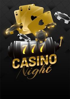 スロットマシン、エースカード、ポーカーチップを備えたカジノナイトのゴールデンテキスト