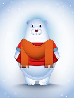 降雪で服を着てかわいいシロクマキャラクター
