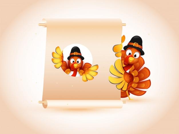 巡礼者の帽子をかぶって、感謝祭のメッセージのために与えられた空白のスクロール紙を保持しているトルコの鳥のイラスト。