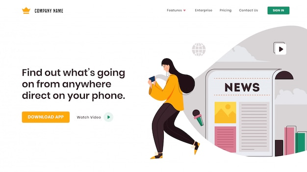 Молодая девушка, используя смартфон для социального приложения, как газета и веб-инфографика дизайн целевой страницы