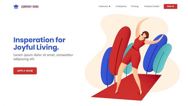 自然の景色と赤いマットで運動をしている顔の見えない女性とのインスピレーションのジョイフルリビングコンセプトベースのランディングページデザイン。