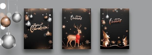 メリークリスマスのお祝いテンプレートまたはチラシセット。