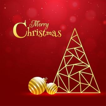 メリークリスマスのお祝いグリーティングカードの赤いボケに金色のつまらないもので幾何学的な多角形パターンによって作られたクリスマスツリー。