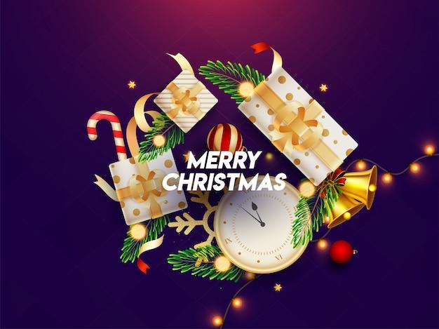 時計、ギフト用の箱、ジングルベル、つまらないもの、松の葉、キャンディケイン、メリークリスマス用の紫色に装飾された照明ガーランドなどの祭りの要素の平面図。