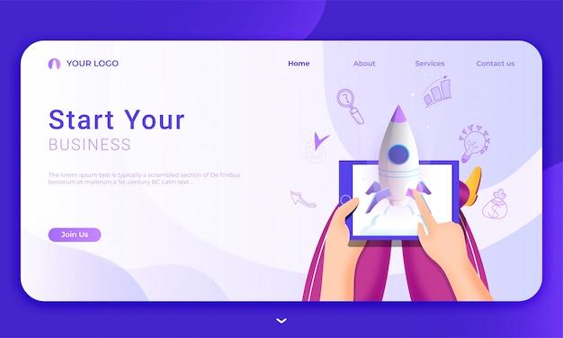 Целевая страница с человеком запускает успешный проект ракета из планшета с бизнес-элементами для «начни свой бизнес».