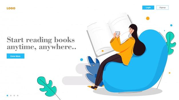 若い女の子は、オンライン教育ベースのランディングページの要約で、スマートフォンからいつでもどこでも本を読み始めます。