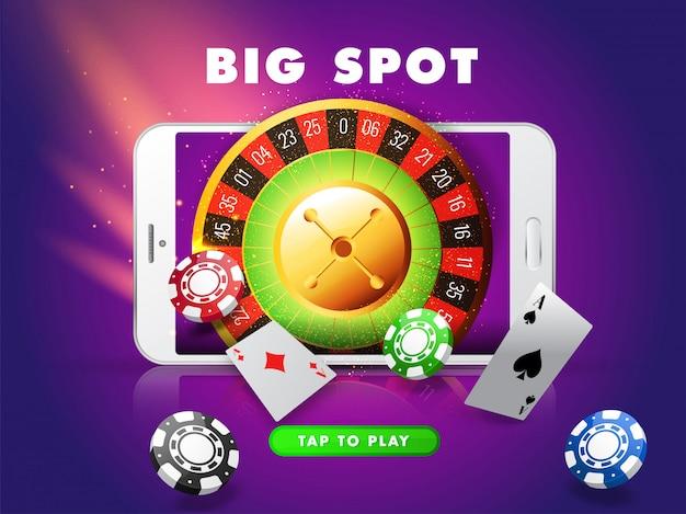 Большой слот в смартфоне с колесом рулетки, фишками казино и игральной картой на фиолетовом световом эффекте для казино.