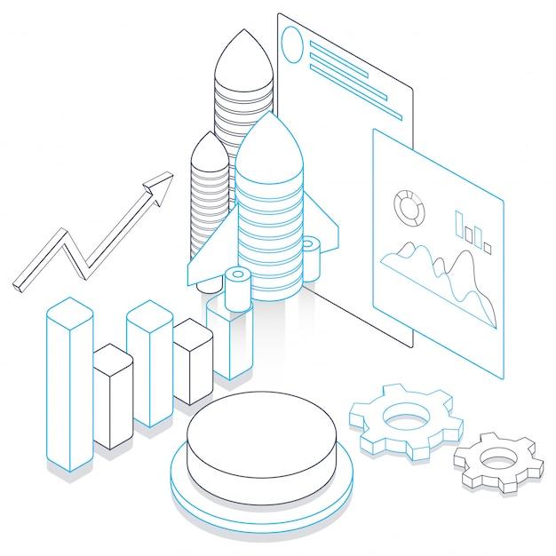 Штриховые рисунки ракеты с элементами инфографики и экран веб-сайта на белом