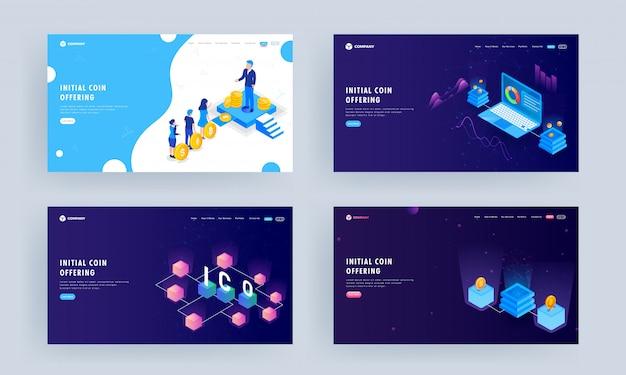 Набор целевой страницы, иллюстрации деловых людей, имеющих криптовалюту с сервером и инфографики презентации в ноутбуке.