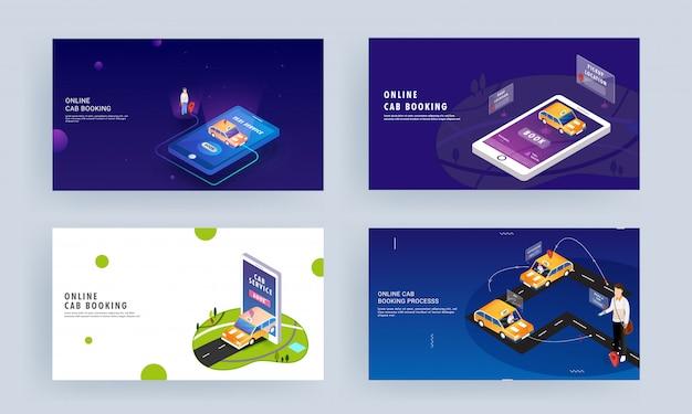 スマートフォンでのオンラインタクシー予約または旅行サービスアプリ用の異なるレスポンシブランディングページデザイン。