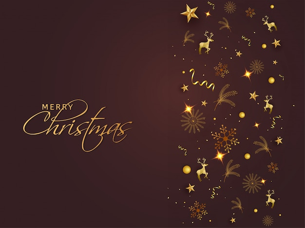 ゴールデンスター、雪片、トナカイ、松の葉、光沢のある茶色の背景に紙吹雪とメリークリスマスのグリーティングカードのデザイン。