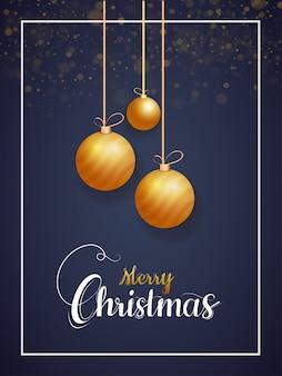 Счастливого рождества шаблон с реалистичными золотыми шарами висит