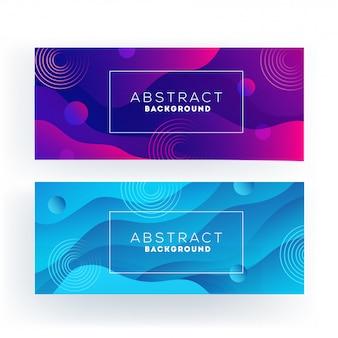 Фиолетовый и синий абстрактный волнистый или жидкий поток баннер