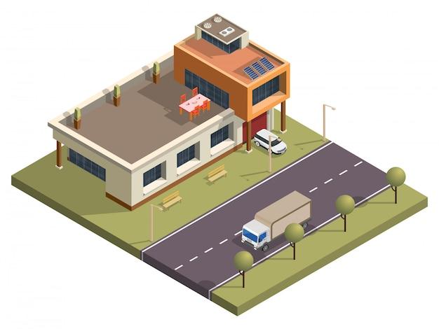 トランスポートストリート背景の前にガーデンビューと等尺性の近代的な建物。