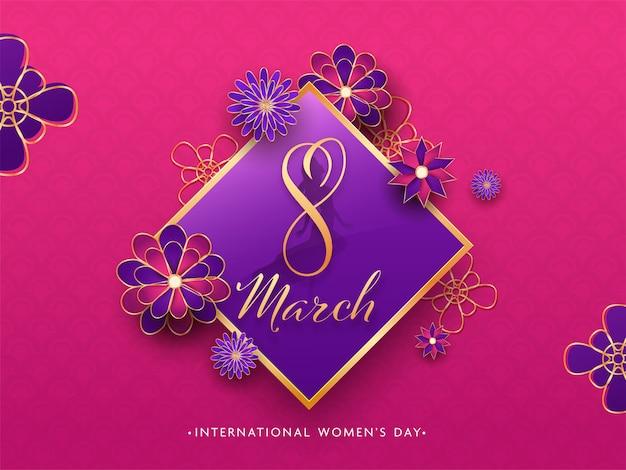 国際女性の日のピンクの背景に美しい花で飾られた菱形フレームの紙カットスタイルテキスト。