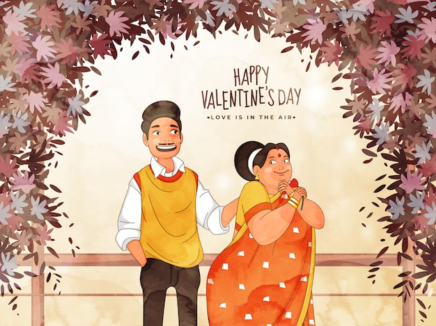 幸せなバレンタインデーのための幸福の恋人カップルキャラクターと抽象的な葉装飾ボーダー、愛は空中にあります。