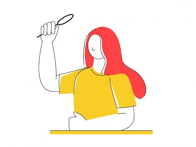 Безликая молодая женщина, держащая увеличительное стекло.