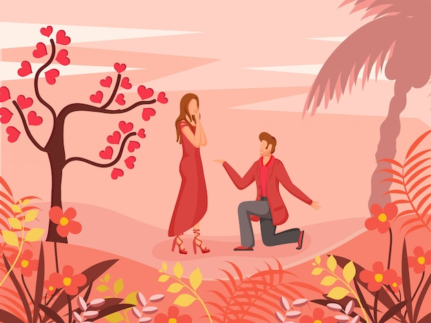 幸せなバレンタインデーのイラスト
