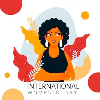 国際女性の日の概念のための白い背景の上の葉を持つ現代の少女キャラクター。