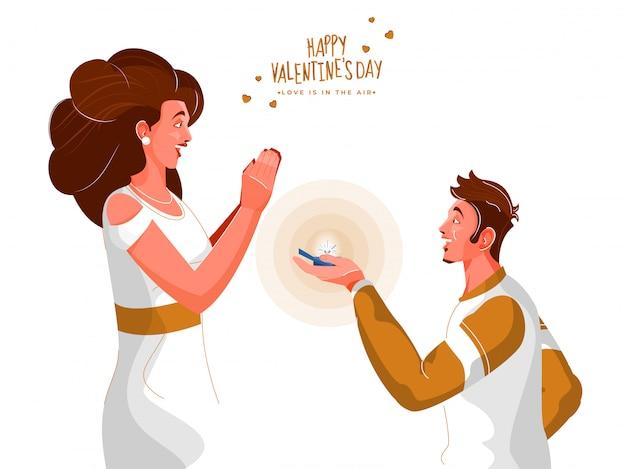 Мальчик делает предложение своей девушке по случаю счастливого дня святого валентина.