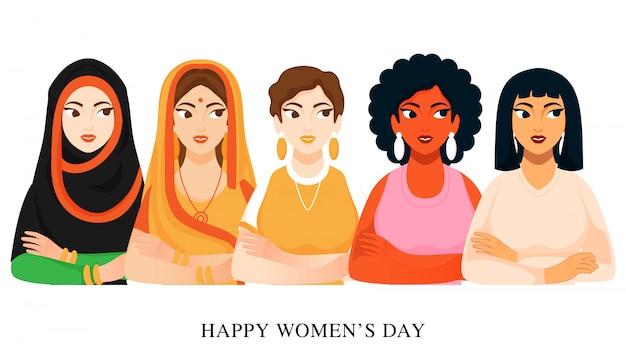 白の異なる宗教女性グループ