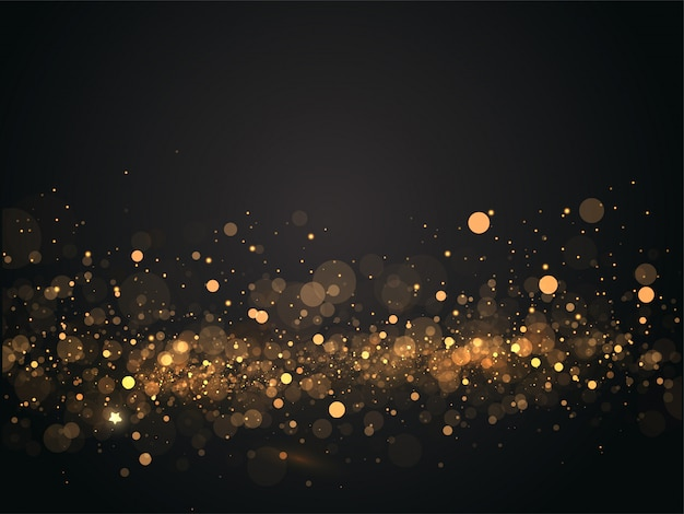 抽象的なゴールデンボケライト効果黒の背景。