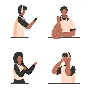 Молодая девушка поет с микрофона и мультфильм мальчиков слушать онлайн музыку.