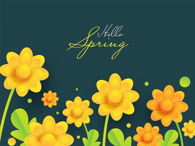 こんにちは春フォント紙にカットされた黄色の花と緑で飾られた葉