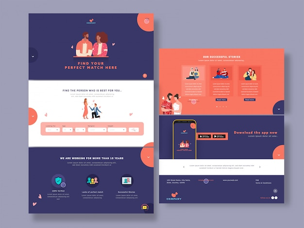 Веб-дизайн шаблона с изображениями романтической пары и успешными историями