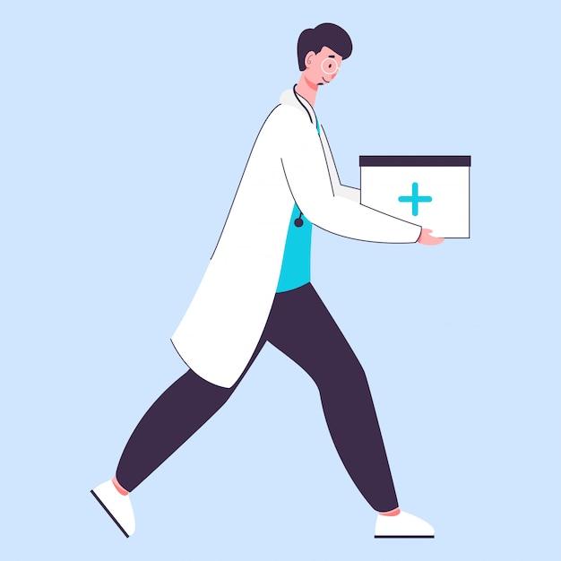 歩行ポーズで救急箱を保持している医者の男の側面図。