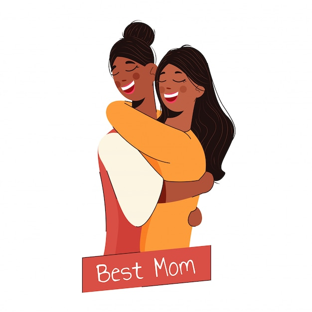 最高のママのために白で彼女の娘を抱いて陽気な母。