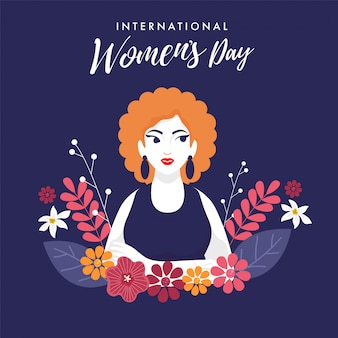 美しい少女と花が紫色の背景に飾られた国際女性の日のフォント。