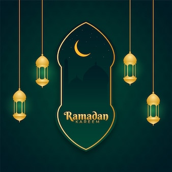 イスラム教の聖なる月のラマダンカリームコンセプトランタン、三日月の黄金の月と緑の背景にモスクのハンギング。